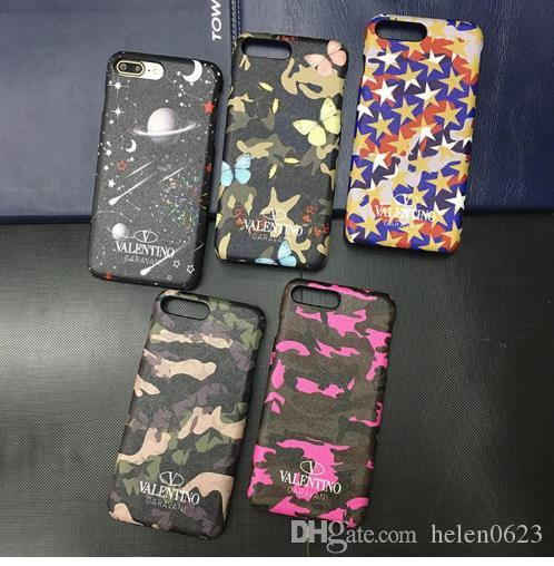 reputable site d8610 02c70 Luxury Street Brand Valentino Leather Phone Case For iPhone X XS Max XR 6  6s 7 8 8 plus Camouflage Stars Fashion Phone Cases