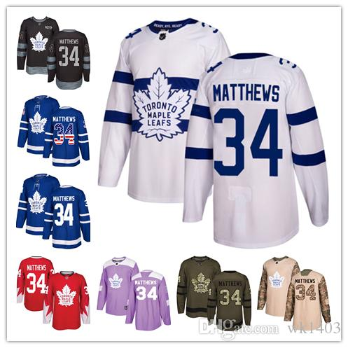 check out 001f7 6926e Toronto Maple Leafs jerseys #34 Auston Matthews jersey ice hockey men women  blue white red Authentic winter classic Stiched gears Jersey
