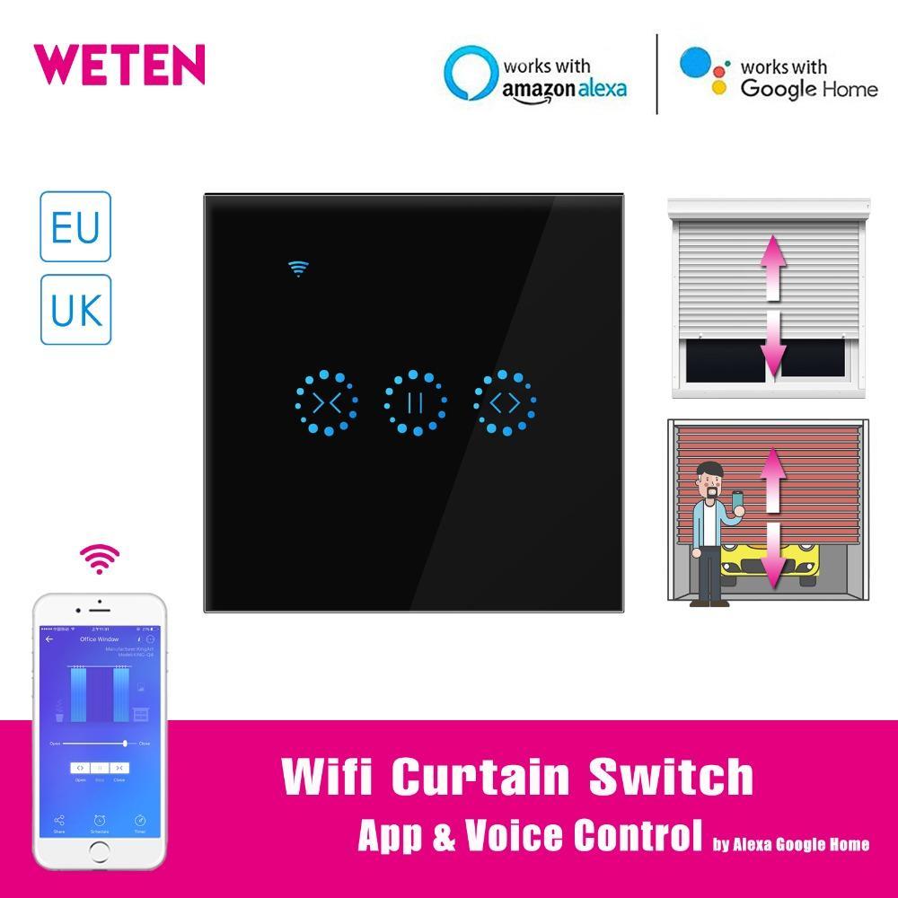Wifi Interruptor de Toque de Cortina Preto Painel de Vidro da UE REINO  UNIDO Inteligente Interruptor Eletric Cortina Ewelink APP Controle de Voz  com