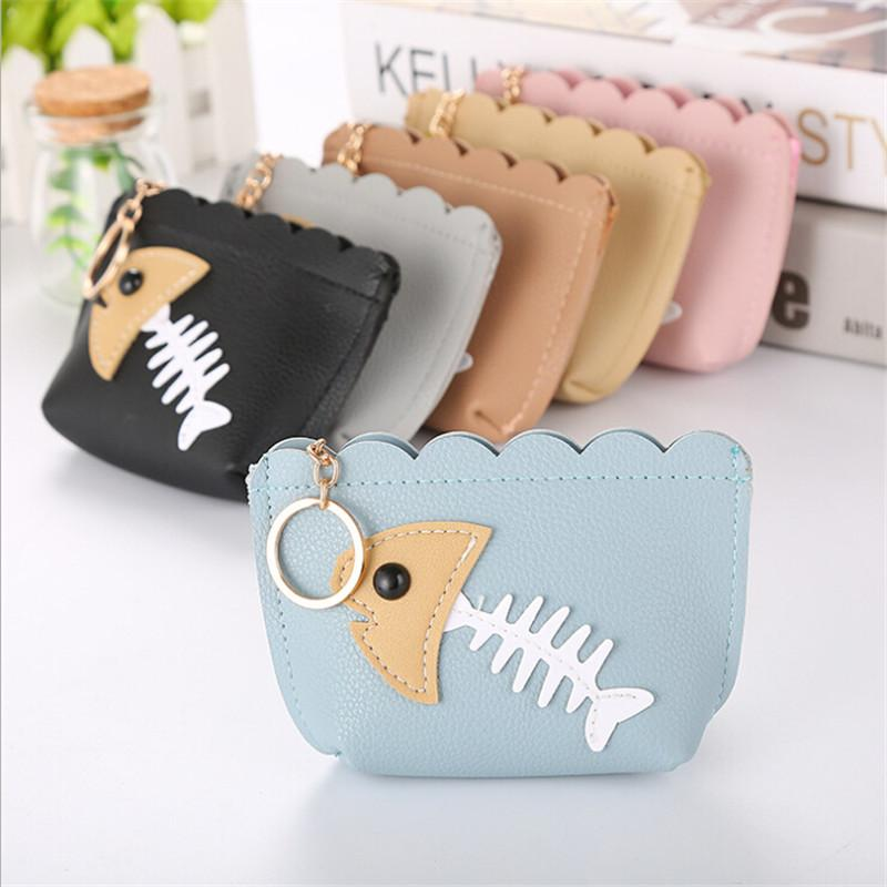 New Fresh Small Coin Bags PU Leather Fish Bone Decal Multifunctional Changes Bags Lady Organizer Zipper Pouch Women Money Bag