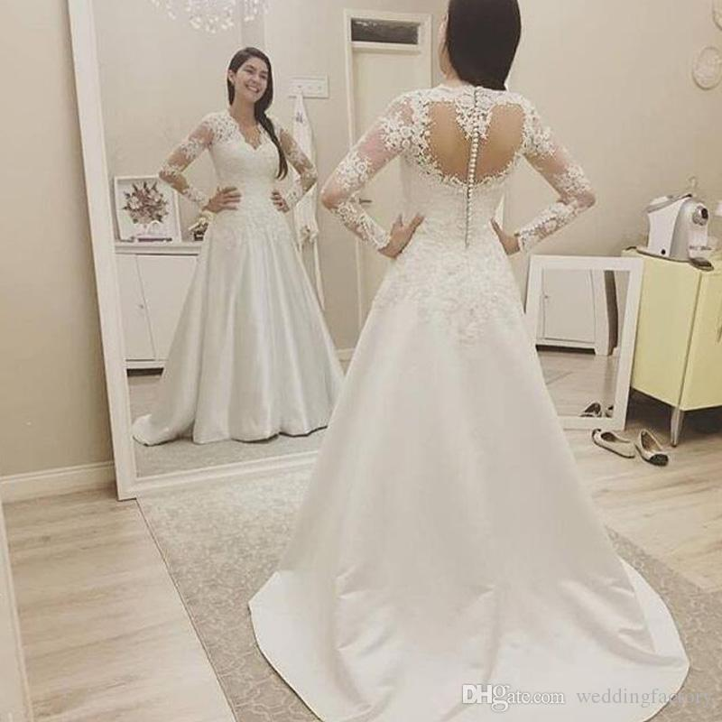 55b70bfc4a9 Discount Modest A Line Wedding Dresses Illusion Long Sleeves V Neck Lace  Appliques Satin Wedding Dress Heart Shaped Back Bridal Gowns Sweep Train  Informal ...