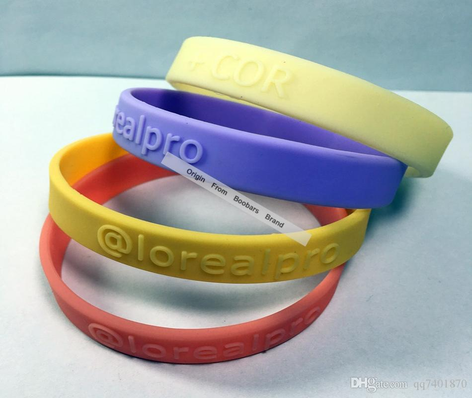 Discount Promotion Sale!100pcs Custom Logo Embossed Person Design Cheap Silicone Wristband,Accept Any Color Bands