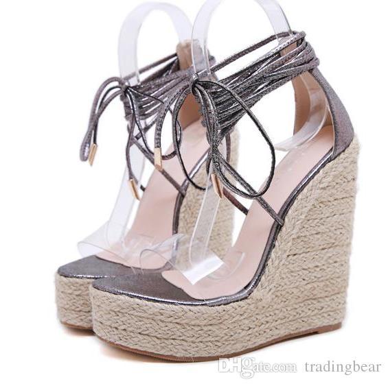 Chic de paille tissée patchwork cheville wrap gladiateur sandales mode designer de luxe femmes wedge chaussures plate-forme talons hauts taille 35 à 40