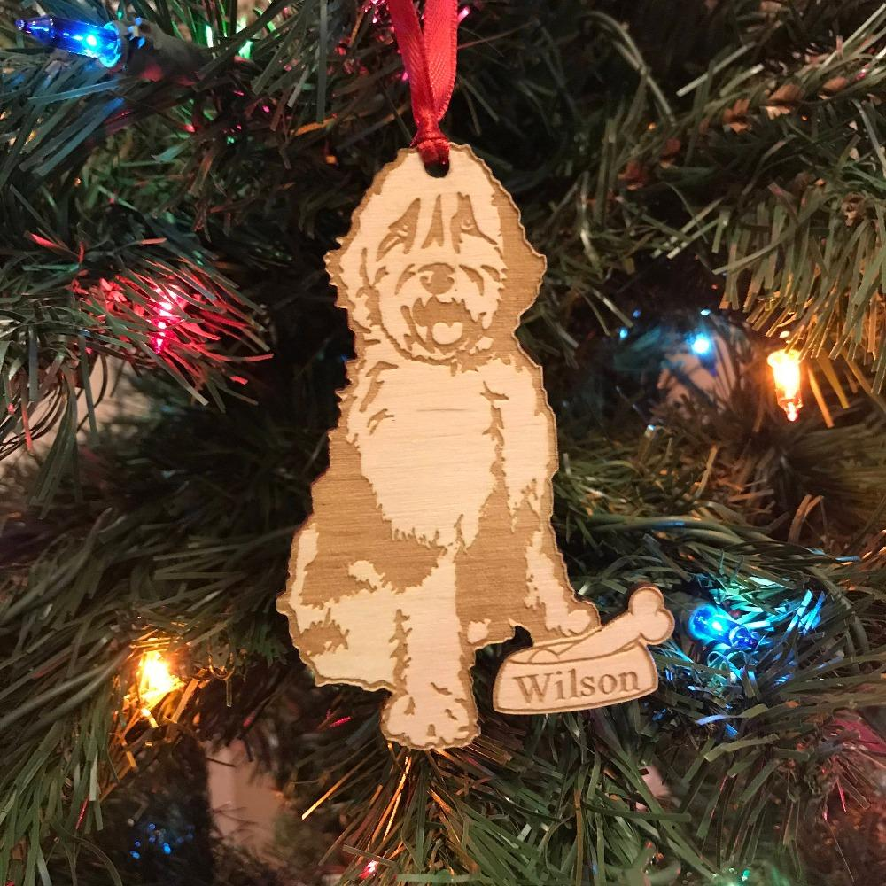 Sheepadoodle Christmas Ornament Personalized Dog Ornament Dog