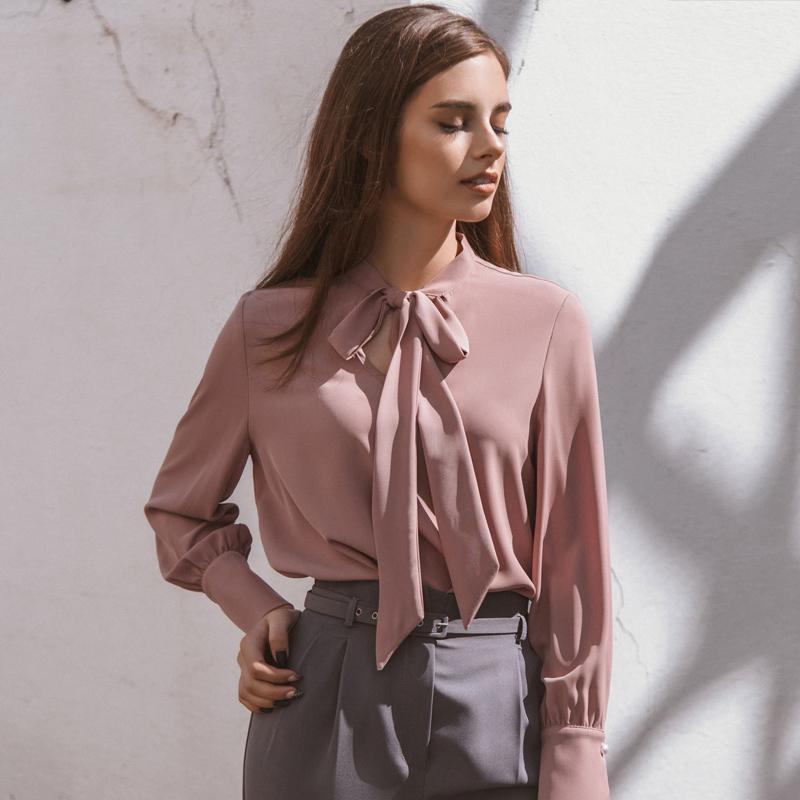58d64c3d13 Compre Rosa Elegante Arco Chiffon Blusa Mulheres 2018 Outono Inverno De Manga  Longa Mulheres Tops E Blusas Escritório Senhoras Camisas Femininas De  Waxeer