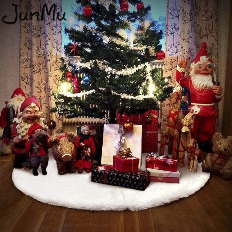 31 36 48 White Plush Christmas Tree Skirt Aprons Carpet Decorations For Home New Year Xmas Decor Decorating