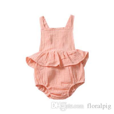 dc66be527444 Satın Al Sevimli Yenidoğan Bebek Kız Katı Renk Romper 2019 Yaz Bebek  Tulumları Tutu Etekli Tulum Giysi Backless Askı Prenses Parti Kostüm