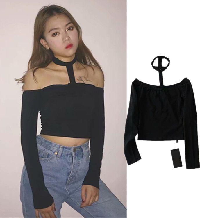 ad3346cc2dd 2019 Women Clothing Long Sleeve Slash Neck Off the Shoulder Halter ...