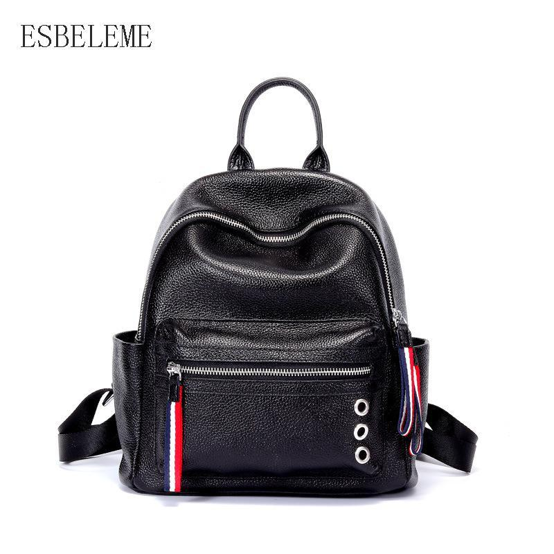 2018 New Women Fashion Genuine Leather Bag For Ladies Black Laptop Backpack  Female Travel Large Bag Teen School Bags YH106 Book Bags Herschel Backpacks  From ... b0896864d8ac2