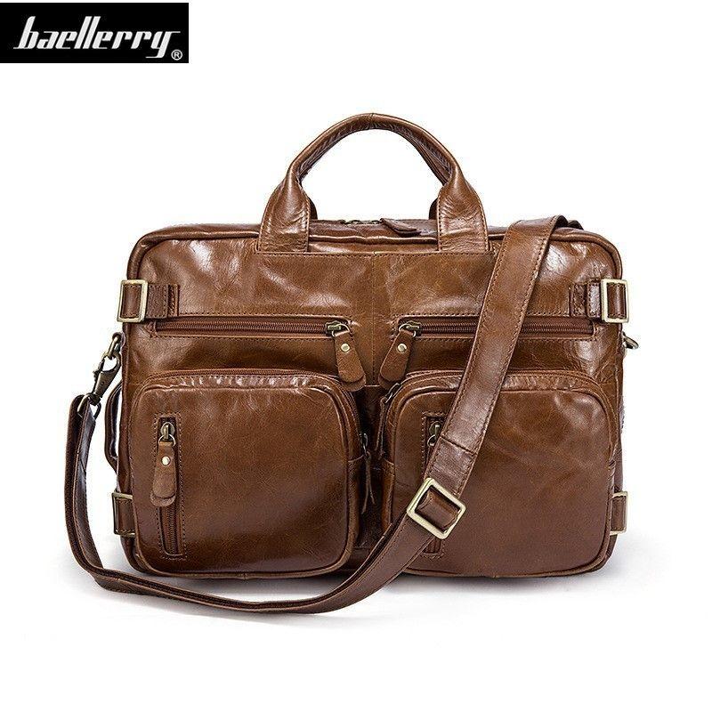 9bce331535 2018 New Fashion Genuine Leather Men Bag Famous Brand Shoulder Bag  Messenger Bags Causal Handbag Laptop Briefcase Male Mens Satchel Bags  Leather Laptop ...