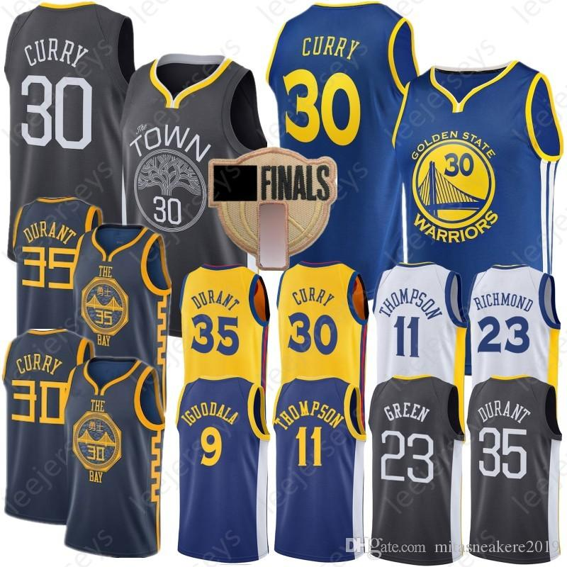 86a0deaf4920 2019 Durant 35 Kevin Golden State Curry 30 Stephen Warriors Jersey Green 11  Klay 23 Draymond Thompson Lguodala 9 Andre Stitched City Jerseys From ...