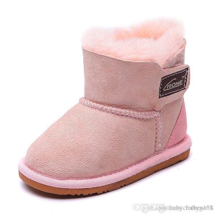 wholesale dealer 64077 9609b Marke Winter warm Pelzhaut Kinder Schuhe Design rosa Schneeschuhe für  Mädchen Baby Jungen Winterschuhe