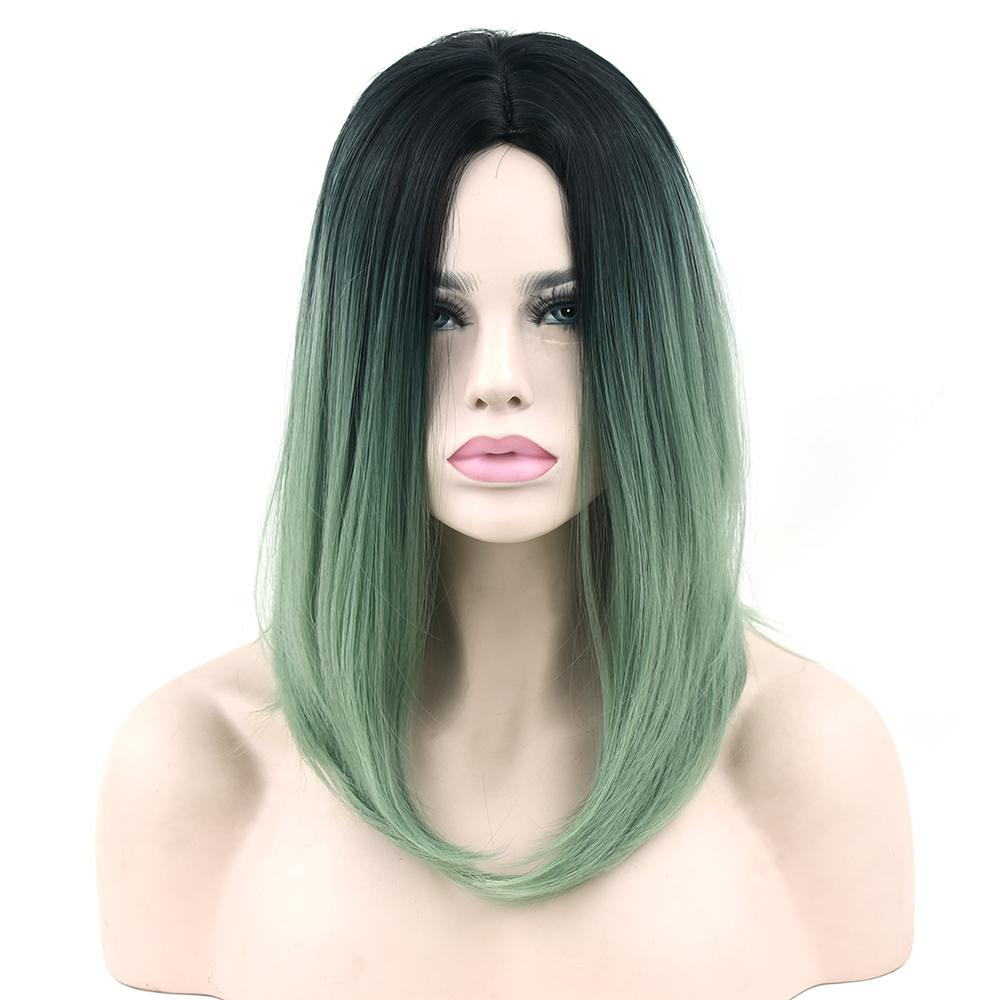 Synthetic Hair Bob Wig For Black Women Straight Hair Halloween Cosplay Wigs  Accessories Black To Green Ombre Hair Full Lace Wigs With Bangs Black Wigs  ... 9578100e7a
