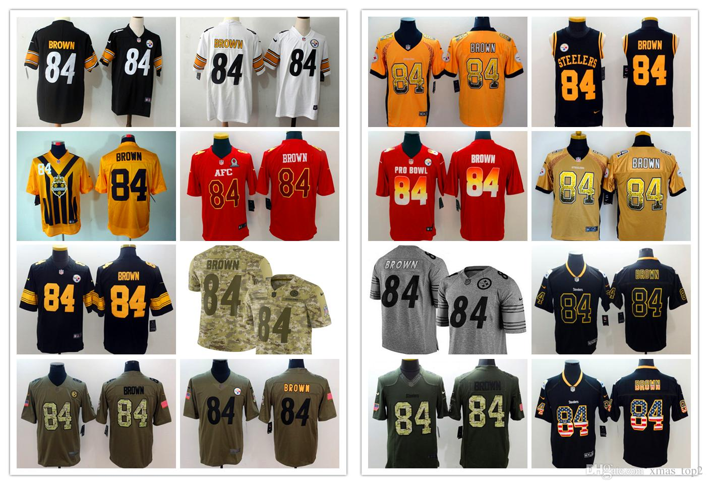 0c9e451c2 ... sale 2019 new mens 84 antonio brown jersey pittsburgh steelers football  jerseys 100 stitched embroidery antonio