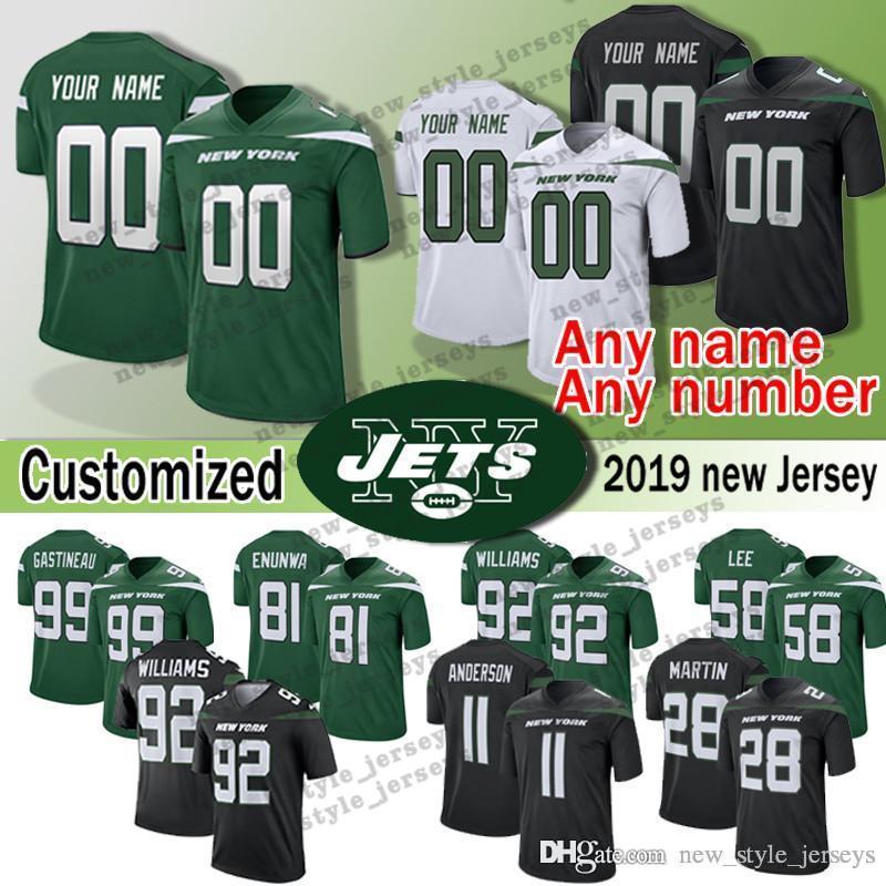 sports shoes dfa53 7f593 2019 new Customized Jets New York jersey 11 Robby Anderson 28 Curtis Martin  58 Darron Lee 92 Leonard Williams Mark Gastineau jerseys