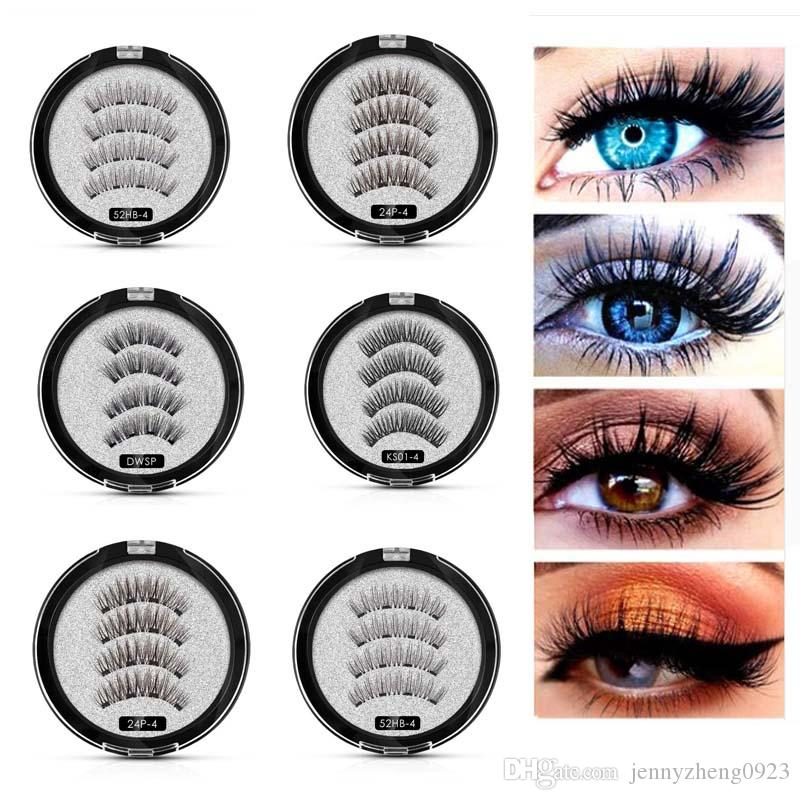 65cd9f171ba 4 Magnetic Eyelashes With Magnets Patches For Eyelash Extension Handtied 8  Styles False Eyelashes Handmade Thick Soft Magnet Eyelashes Lash Perfect  Long ...