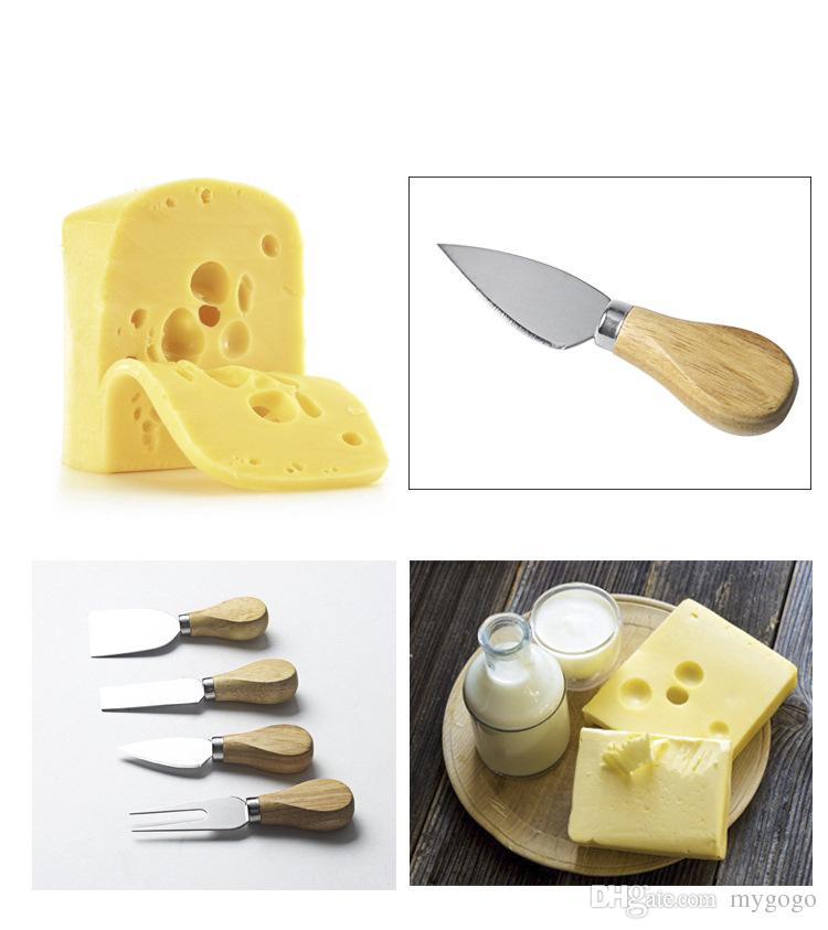 Factory wholesale stainless steel cheese knife cheese wooden handle butter knife pizza knife baking tools cheese set