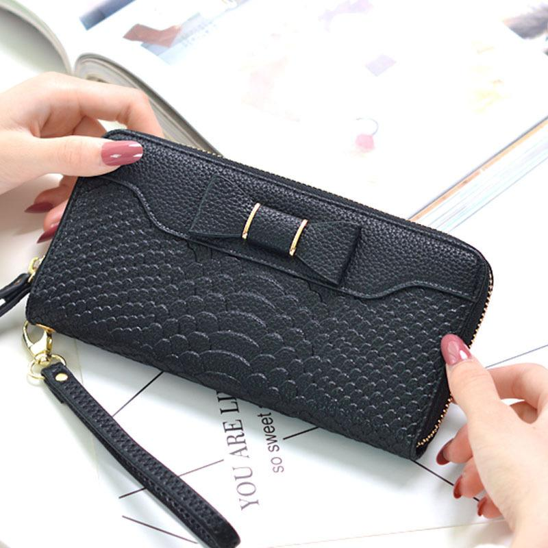 7ebcb0e2465 Female Vintage Pu Alligator Leather Wallet Bow Zipper Long Purse Solid Color  Big Capacity Coin Card Holders Clutch Bag Carteras Leather Wallets For Women  ...