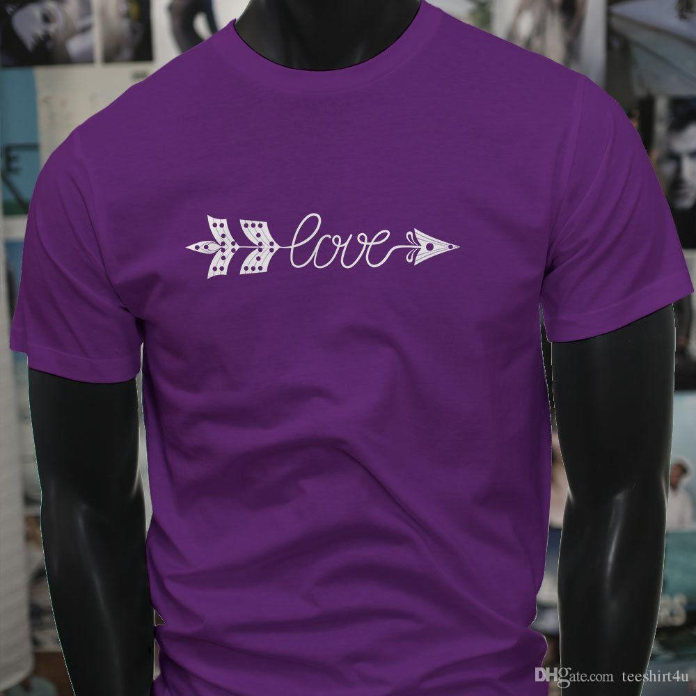 151f4f247e Love Arrow Lust Cute Fun Nature Cupid Mens Purple T-Shirt T Shirt Men Man's  Swag Custom Short Sleeve XXXL Couple Tee Shirts
