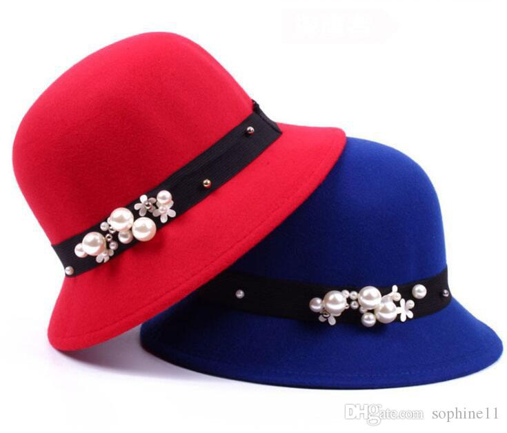 legant Women Round Bowler Cap Fedoras Cotton Cloche Bucket Hat Pearl Winter Warm Beading Caps Lady Women
