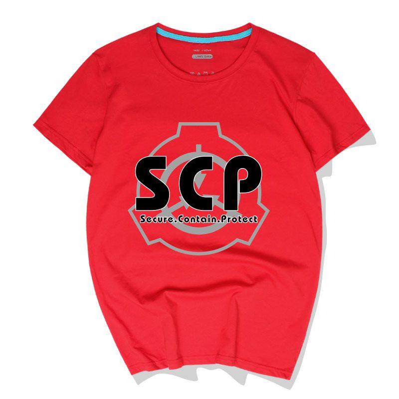 2d185a8926 Compre Casual Hombre Camisetas SCP Secure Contiene Protege Algodón Camisetas  Tops Nueva Moda De Manga Corta Cuello Redondo Polos Alta Calidad Streetwear  A ...