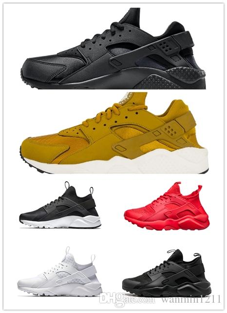 5327f99fdce7 On Sale 2019 Huarache 1.0 4.0 Mens Running Shoes Triple Black White Gold  Red Fashion Huaraches Mens Trainers Women Sports Sneaker Mens Sale Cheap  Running ...