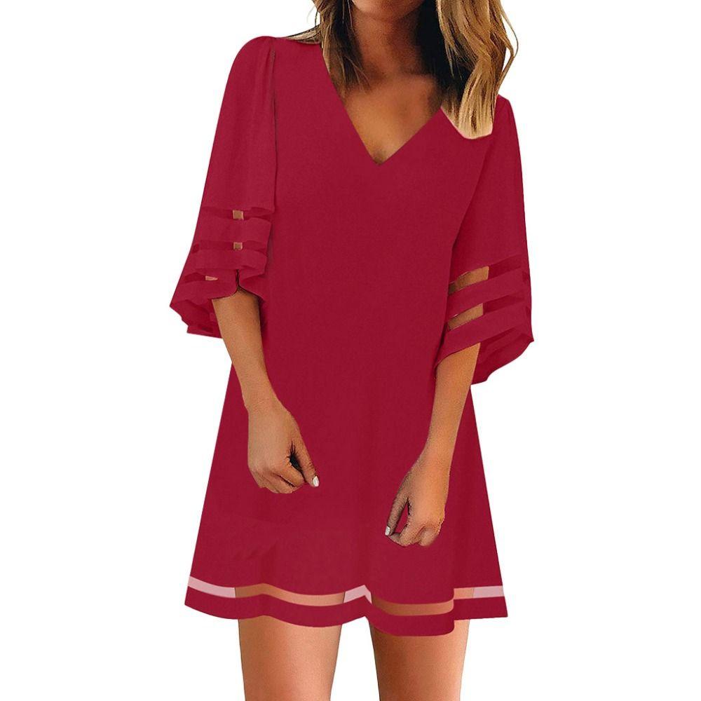 e86252ded For Women s V Neck Mesh Panel Blouse 3/4 Bell Sleeve Loose Top Shirt Dress  robe maxi sukienka ropa mujer vestidos de verano A20
