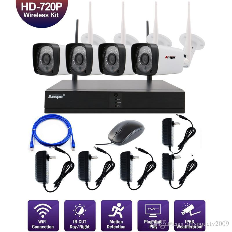 Anspo 4pcs 4CH WiFi Wireless Security Camera System NVR 960P Night Vision IR-Cut CCTV Home Surveillance Camera System Kit Waterproof