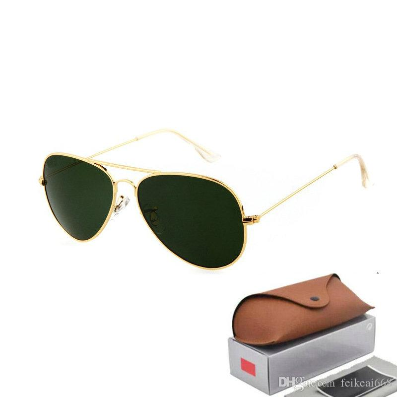 e2d95f61e7a Hot Sale Aviator Sunglasses RAY Vintage Pilot Brand Sun Glasses Polarized  UV400 Bans Men Women Mirror 58mm 62mm Glass Lenses Online with  13.3 Piece  on ...