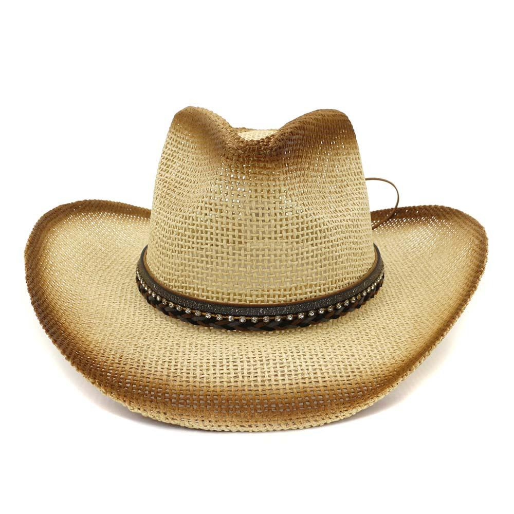 8f756a183 2019 Summer Outdoor Seaside Sunshade Hat Unisex Women Brown Spray Paint  Cowboy Straw Hat Wide Brim Sun Visor Caps Breathable Sunhat