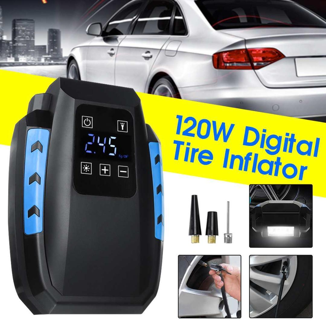 120W Digital Tire Inflator DC 12 Volt Car Portable Air Compressor Pump 150 PSI Car Air Compressor for Motorcycles Bicycles