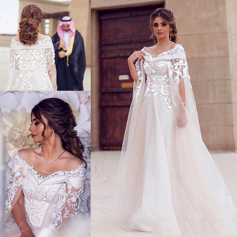 05922699b3 Discount Dubai Long Sleeves Lace Cape Style Beads Wedding Dresses 2019  Bateau Neck Maternity Destination Arabic Dress A Line Bridal Ball Gown  Wedding ...