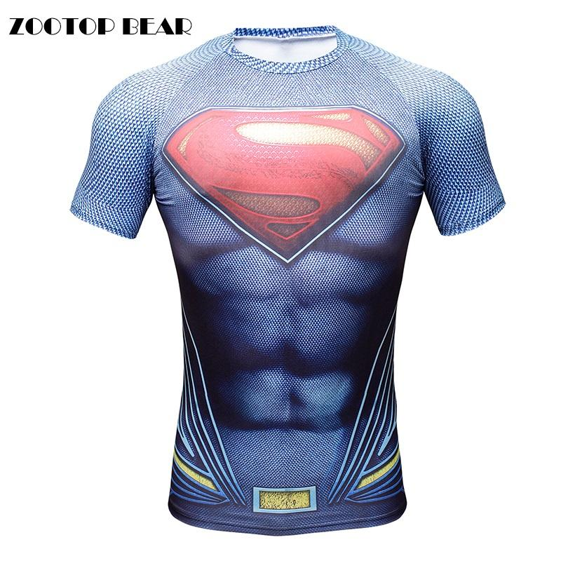 Compre 2016 3D T Shirt Dos Homens Superman Batman Homens Tops Crossfit  Compressão Bodybuilding Engraçado Impressão Tees Menino Masculino Camisetas  URSO ... 5619b73707774