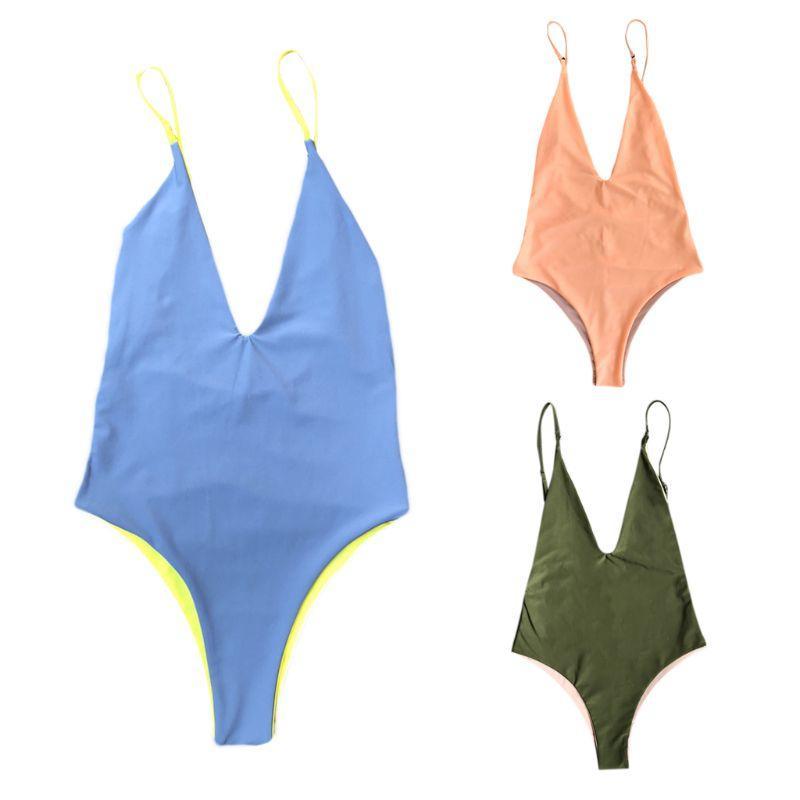 e0e1fa88e2 Acheter Femmes Sexy One Piece Bikini Color Block Réversible Monokini  Plongeant Profondément Col En V Dos Nu Coupe Haute Maillots De Bain Sans  Rembourrage ...
