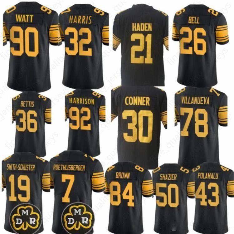 f61ab01757e 2019 90 T.J. Watt Pittsburgh 84 Antonio Brown Steelers 19 Juju Smith  Schuster 30 James Conner 43 Troy Polamalu 78 Villanueva Jerseys From ...