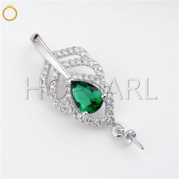 HOPEARL Jewelry Cubic Zirconia Pendant Pearl Mounts Green Zircon 925 Sterling Silver Pendant Accessories 3 Pieces