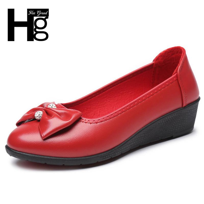 2019 HEE GRAND Platform PU Leather Wedges Women Pumps Lace up Loafers Comfortable Shoes Leisure Mother Shoes Woman 4 Colors XWD6711
