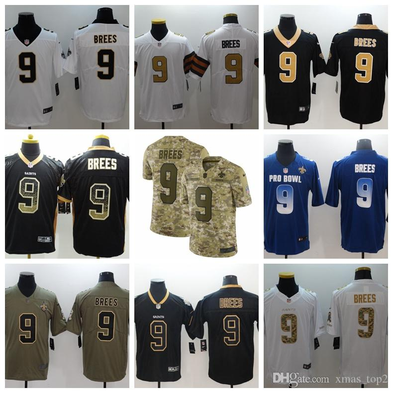 2019 Mens 9 Drew Brees New Jersey Orleans Saints Football Jersey 100 ... 90ce4aed7