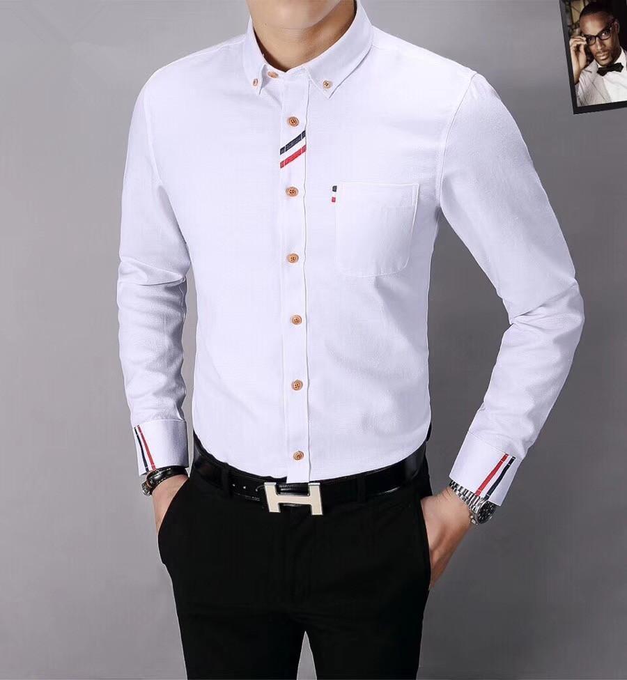 1062c5282 Camisa de vestir de moda para hombre Camisa de manga larga con rayas a  rayas 2019 Nueva camisa informal y delgada de negocios para empresas Marca  ...