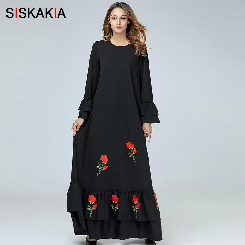 40ba8125a49fa Siskakia Elegant Ethnic Women Long Dress Chic Rose Embroidered Ruffles  Draped Design Long Sleeve Dresses Black Maxi Slim Fit