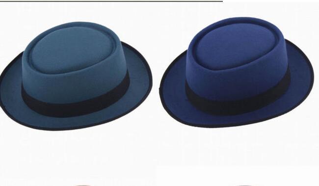 Fashion Unisex Felt Pork Pie Men Curled Edg Cap European American Flat Caps  Circular Top Hats Fedoras Chapeu Fedora Hat Online with  22.74 Piece on ... 3ddc52b573f