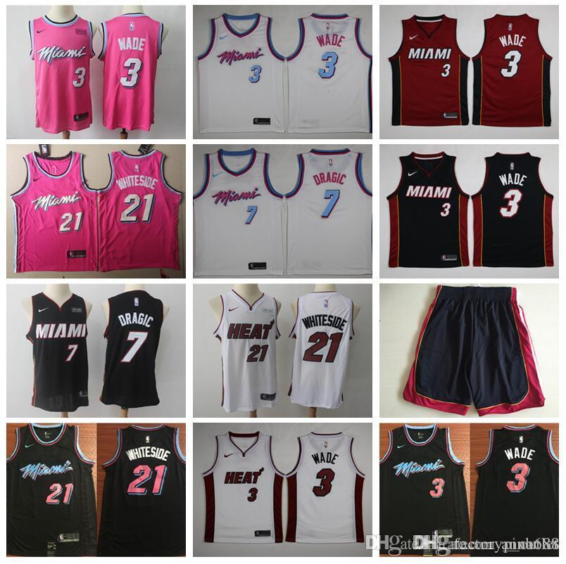 finest selection 4bf88 51139 Miami Vice Earned Edition Dwyane 3 Wade Jersey Heat Basketball Goran 7  Dragic Hassan 21 Whiteside Jerseys Short Red Black White City