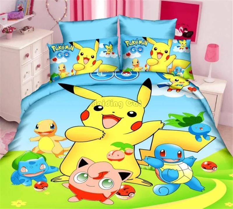 8f29dc3daf42 Home Textile 3d Pikachu Bedding Set Single Bed Cover Bed Sheet Pillowcase  2 Twin Full Chidren Bedclothes Duvet Cover Sets Discount Duvet Covers Down  Bedding ...
