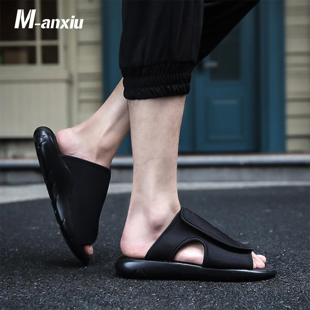 M-anxiu Strapless Slip-on Fashion Flat Couple Sandal 2018 Summer Men Rubber Sole Antiskid PU Thick Sole Beach Sandle