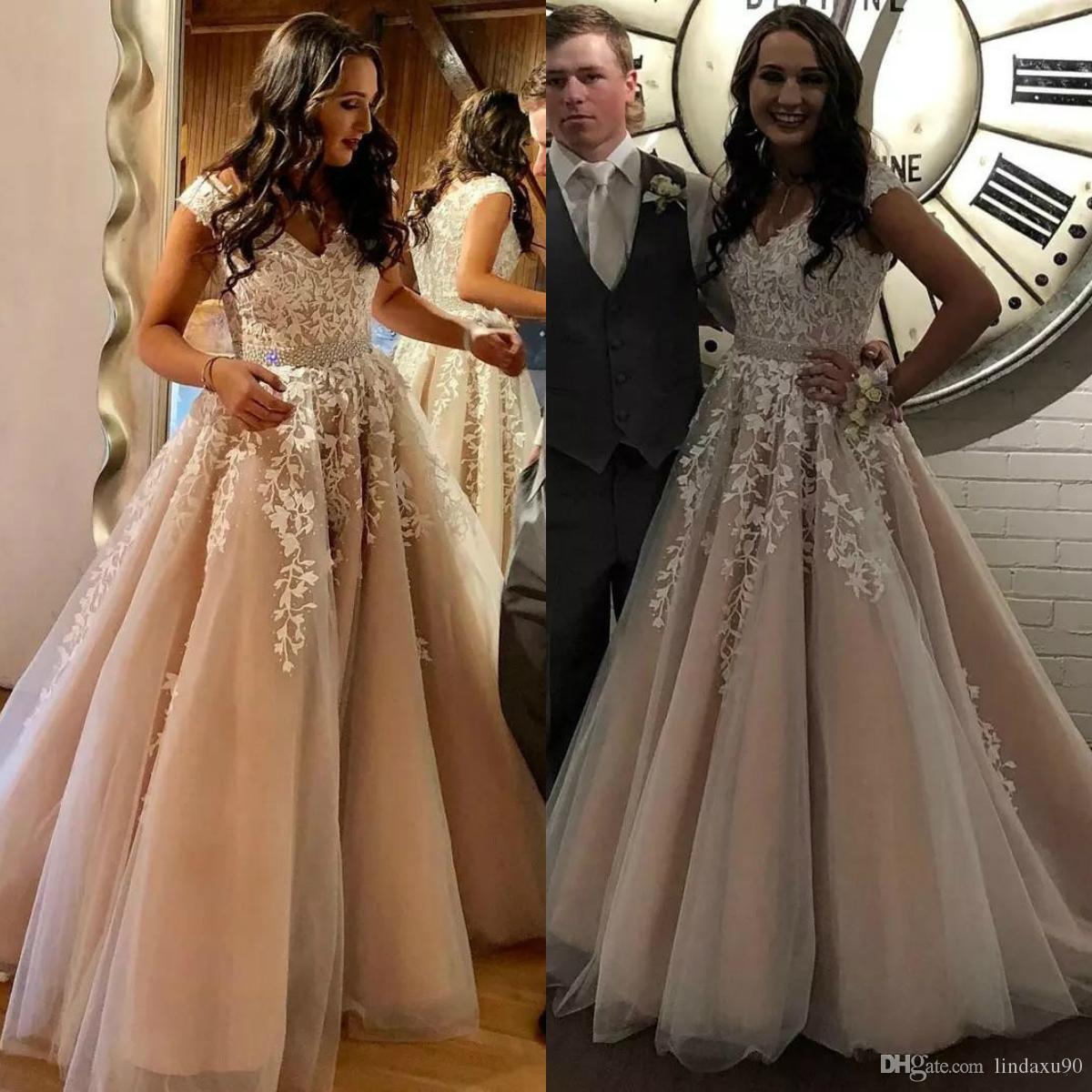 Designer Prom Dresses: New Designer Blush Prom Dresses 2019 A Line Lace Applique