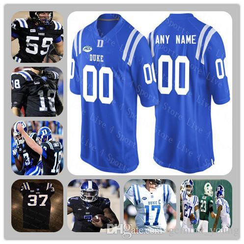 big sale fc4ff 1b998 Custom Duke Blue Devils College Football Jerseys Any Name Number Evan Lisle  Laken Tomlinson DANIEL JONES T.J. Rahming Black White Stitched