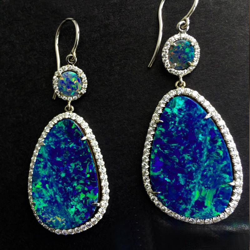 063e873be Classic Design Blue Crystal Fire Opal Stone Pendant Earrings Women's Jewelry  New Popular Ear Stud Accessories