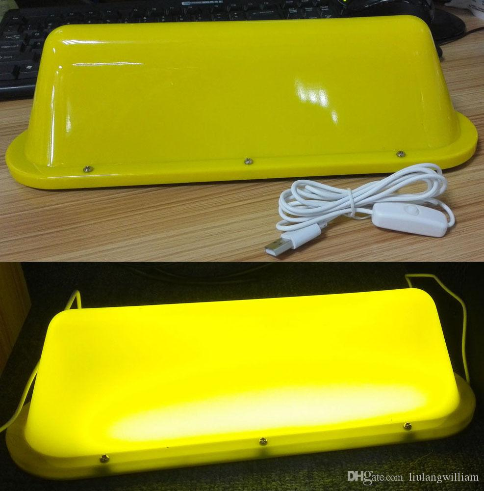"HOT 14"" Blank Taxi Cab Sign DIY Roof Top Car Super Bright Light Yellow USB LED light"