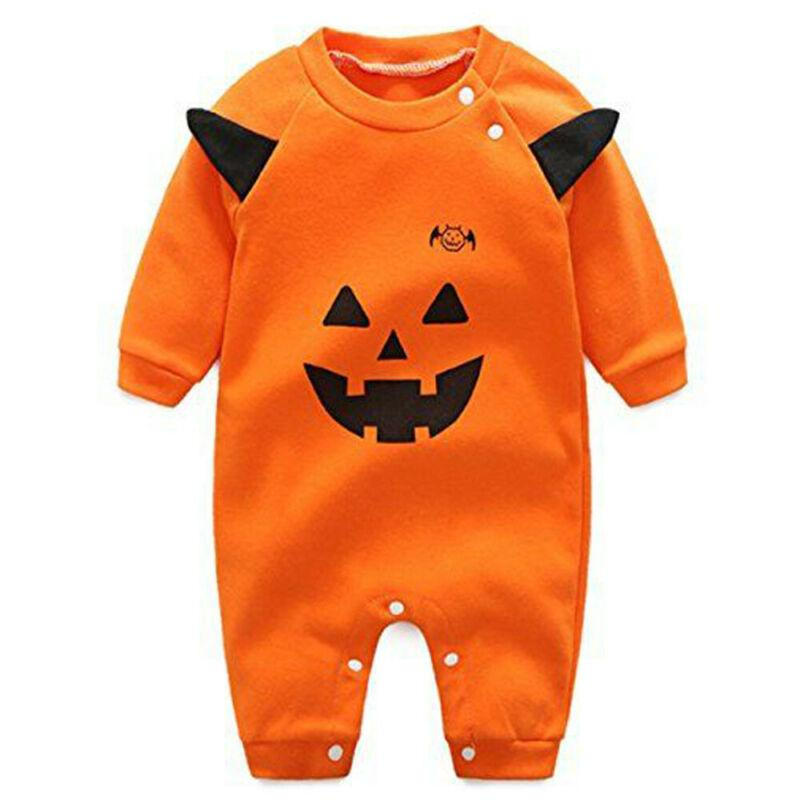 0-18m Cute Infant Baby Boy Girl Halloween Clothes Pumpkin Playsuit Romper Baby Cotton Jumpsuit