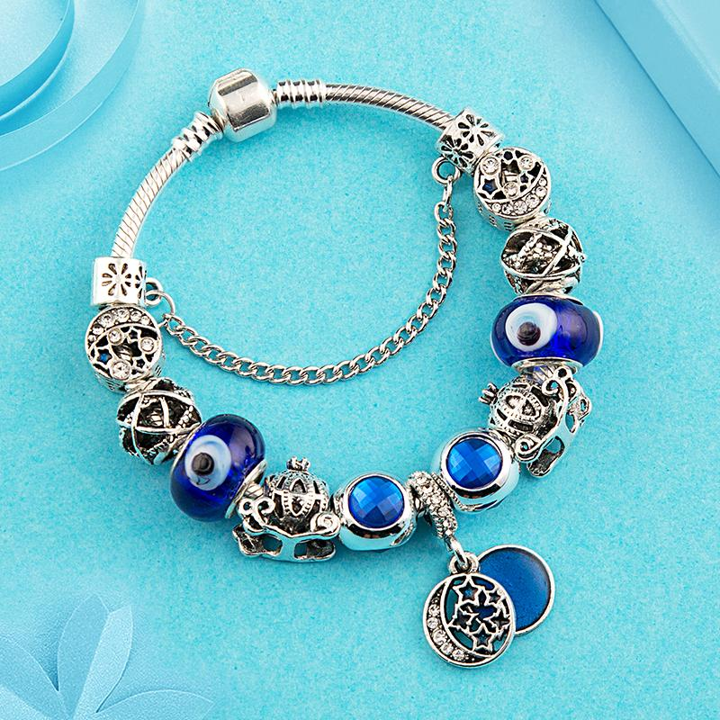 Granos de la Estrella de la Luna Clásico Americano europeo Pandora Pulsera Royal Blue Crystal Murano Charm Bracelet Bangle Fashion Diy Joyería